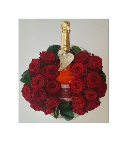 Saint valentin arrangement floral et champagne aoc brut ros reflet des b - Composition st valentin ...